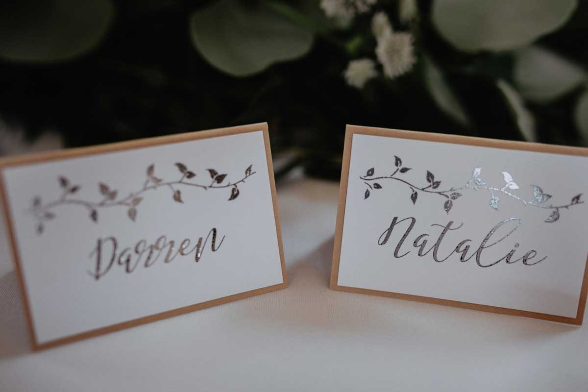 handmade wedding stationery silver foil place name
