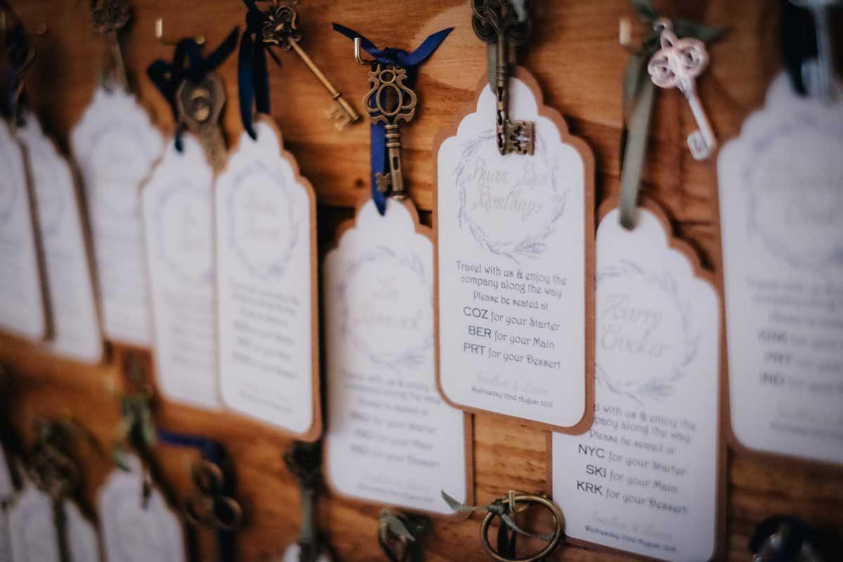 handmade wedding stationery table plan keys