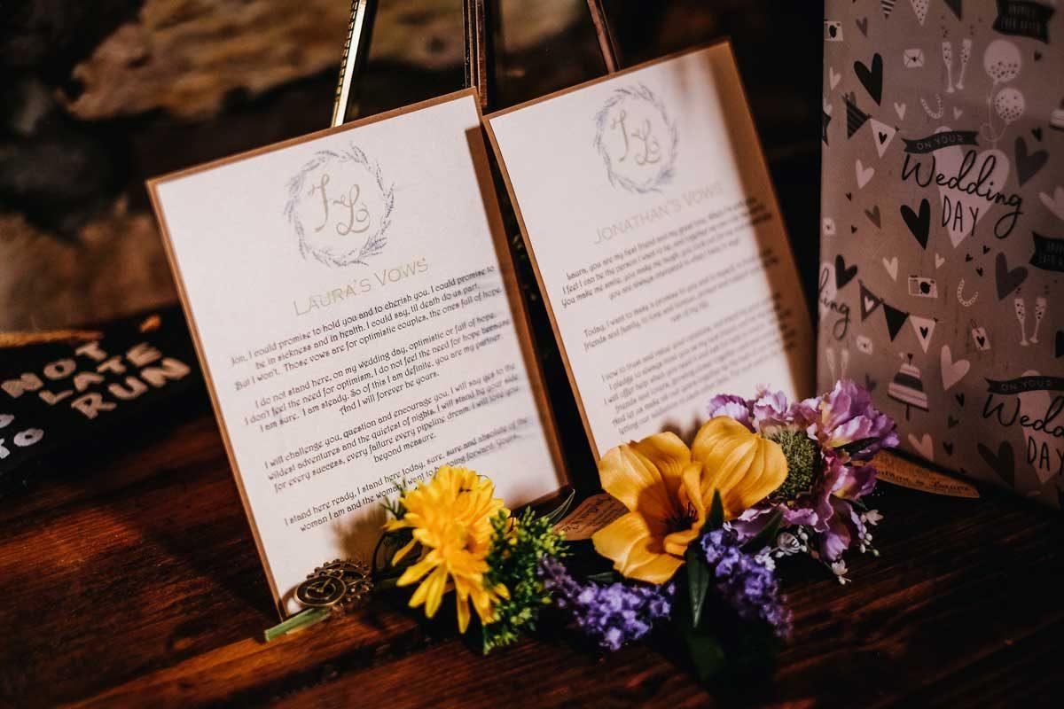 handmade wedding stationery bespoke vows cards