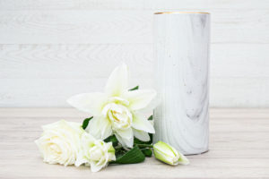 Speckled Ceramic Vase White/Gold 25cm