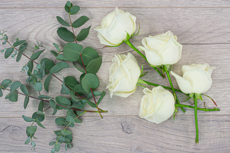 5 Rose Bakers Bunch (White)